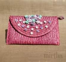 Bolso de rafia rosa